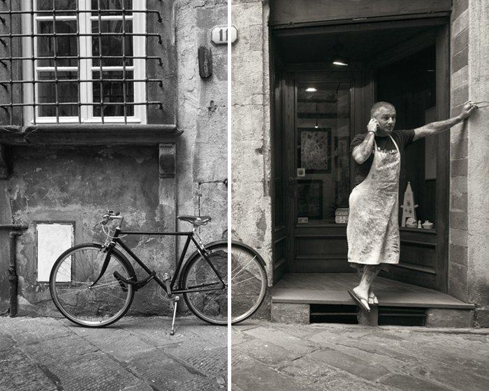man on Italian street bicycle