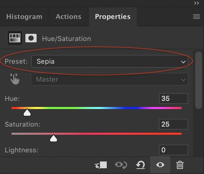 photoshop screenshot of the hue saturation adjustment layer menu