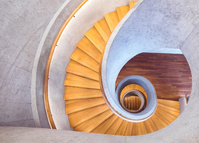 A beautiful flat lay architecture photography of a spiral stairway