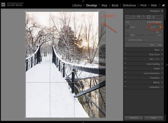 在Lightroom上显示13:19裁剪的桥的照片