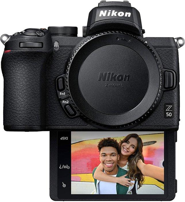 An image of the Nikon Z50 mirrorless camera