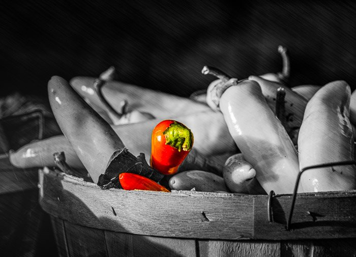 Peppers partial black and white