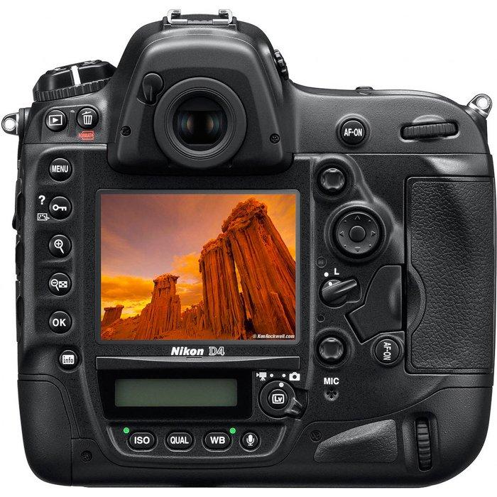 image of a nikon d4 dslr camera from behind