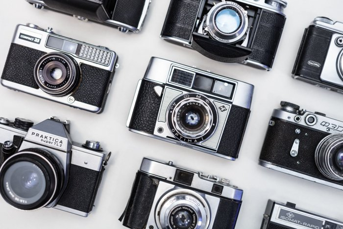 a collection of analogue 35mm cameras