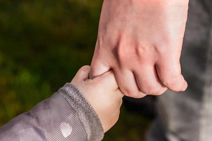 macro family picture of father and son holding hands