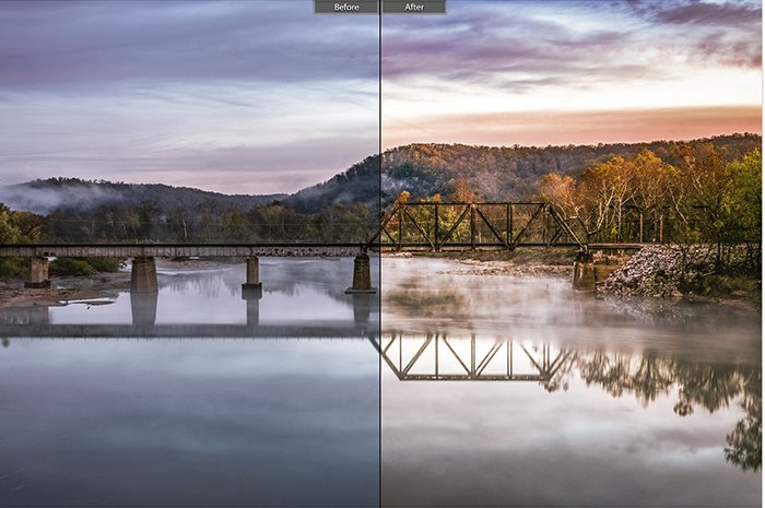 a before and after image of a bridge with and without post processing