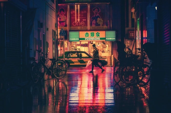 Night photography of a street scene in Japan