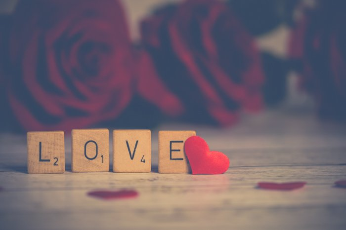A cute still life photography showing the word love with scrabble cubes.