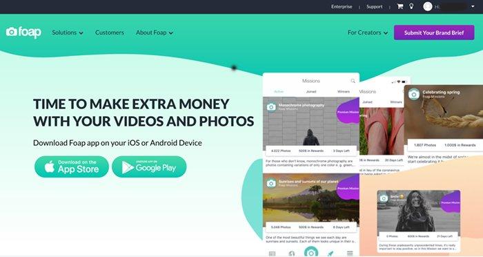 Screenshot of FOAP app website