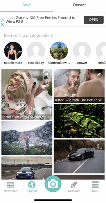 Screenshot of FOAP app explore page showing recently sold photos