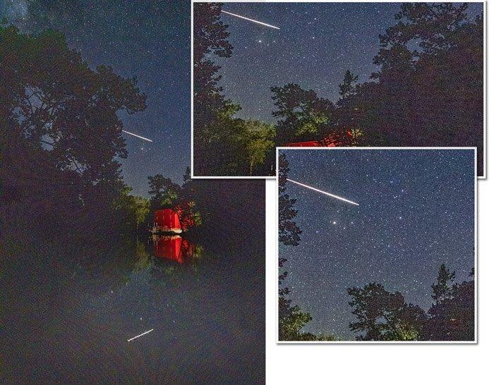 Night sky with meteor closeup