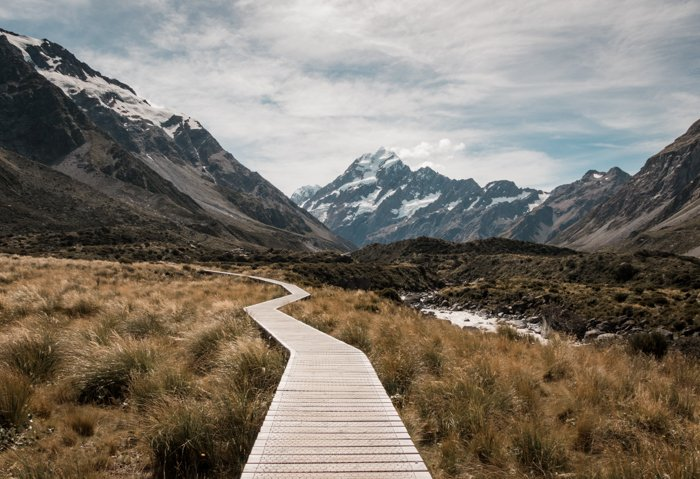 Image of a wooden pathway between mountains