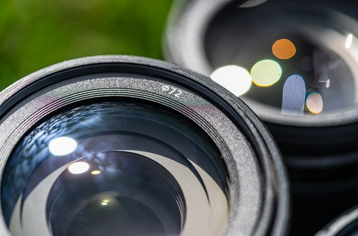 Camera lens showing diameter