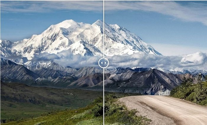 Showing a before and after photograph of a mountain range using free Lightroom presets