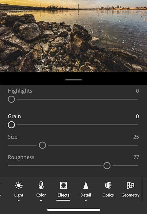 Lightroom app effects screen