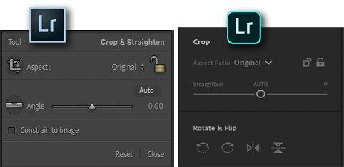 screenshot comparing lightroom classic and cc crop tools