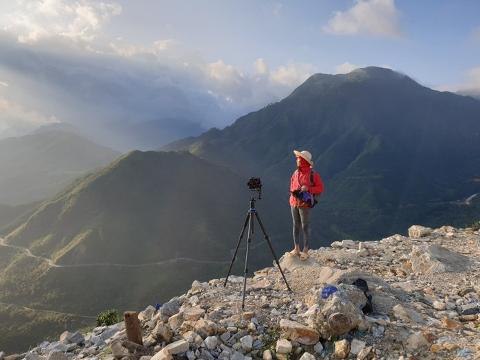 travel tripod used on mountaintop