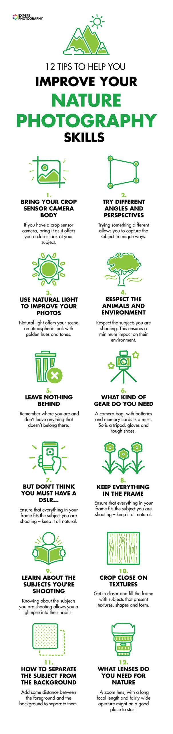 A cheat cheat with 12 nature photography concepts to help the learner improve their skills