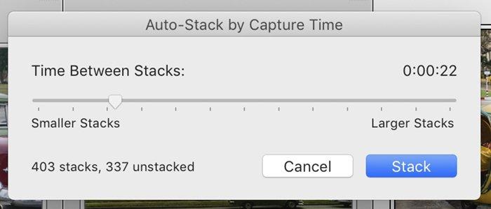 Lightroom screenshot auto stack window