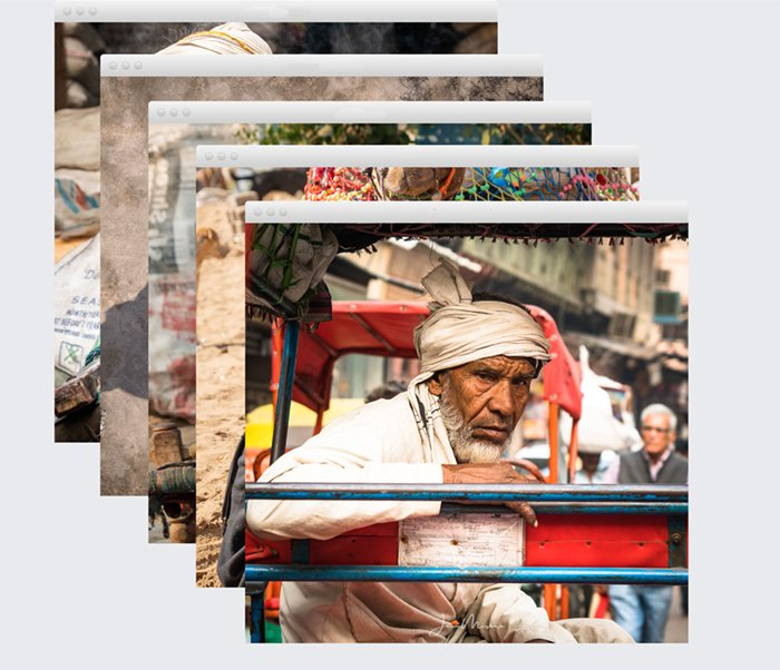 stack of street photos from India
