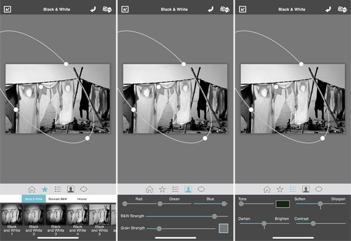 Screenshots Dramatic Black and white camera app laundry