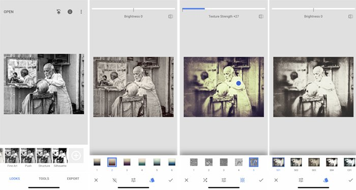 Screenshots make a photo black and white Snapseed app Indian barber