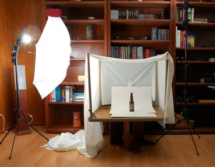 A diy product photography lightbox made from a shower curtain
