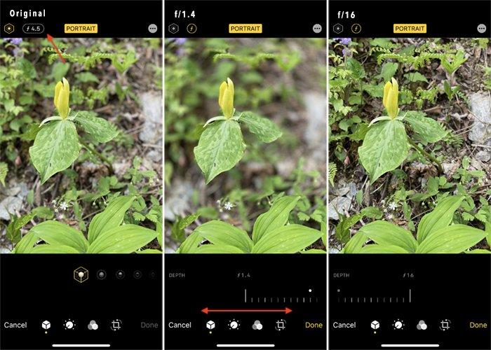 iPhone screenshot edit depth of field