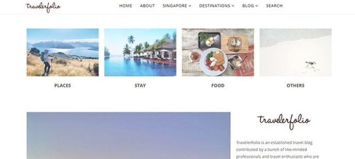 screenshot of travelerfolio travel and photography website