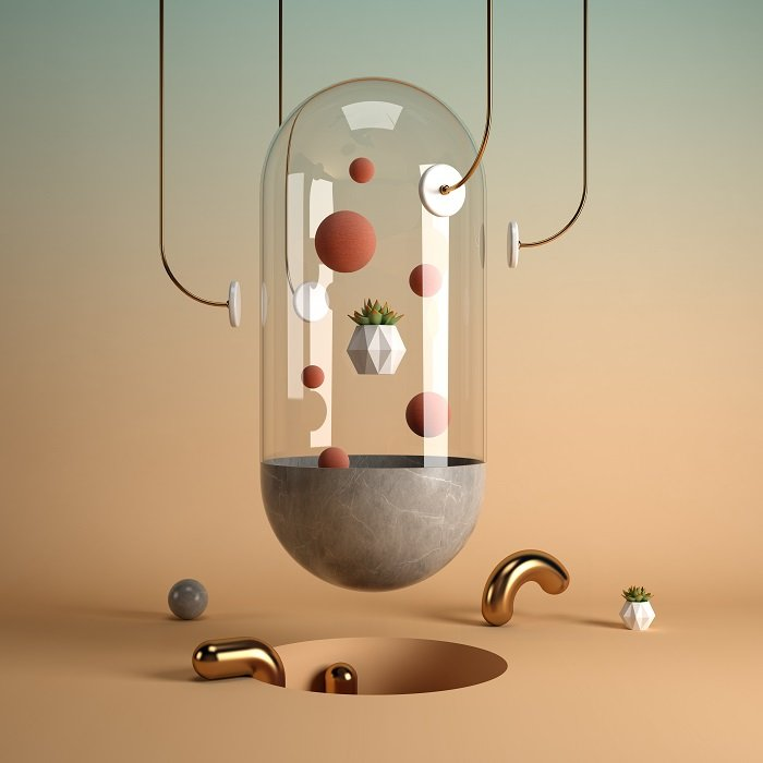 a 3D artists rending of abstract objects on yellow background