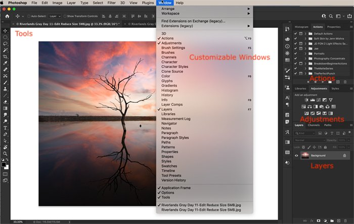 Photoshop CC workspace featuring an image of a sunset and tree