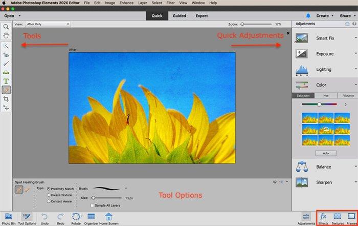screenshot photoshop elements quick edit workspace