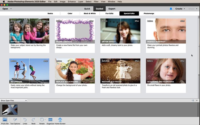 a screenshot of photoshop elements guided workspace