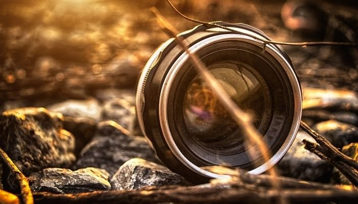 a 50mm prime lens set within rocks and twigs