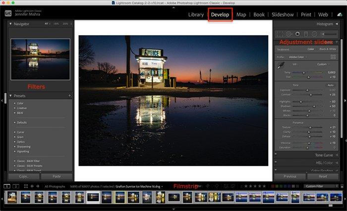 Screenshot Lightroom Classic Develop Module workspace