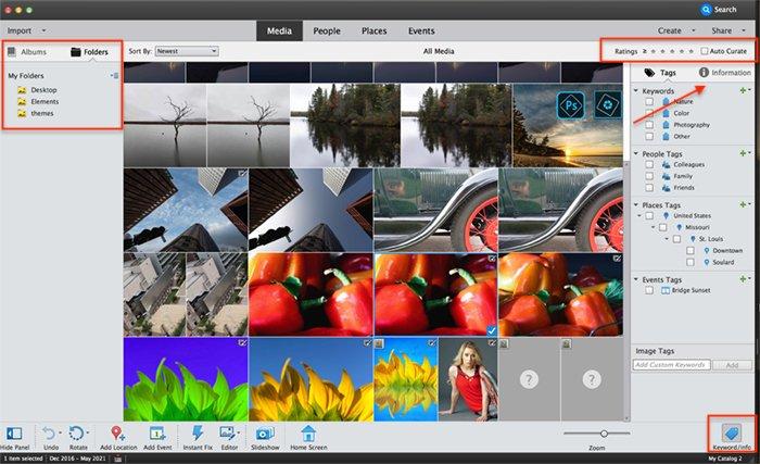 Screenshot photoshop elements organizer