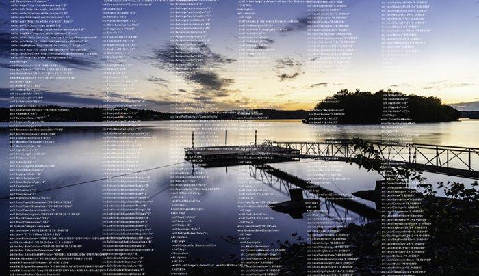 sunset lake with metadata visible