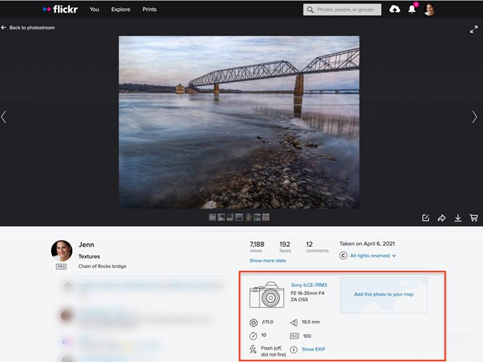 screenshot of Flickr photo showing EXIF data
