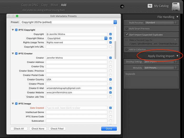 screenshot of lightroom import metadata preset