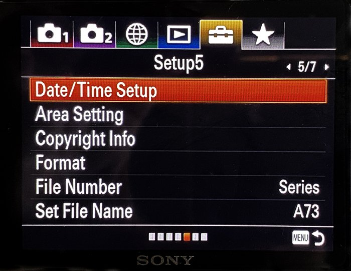Sony A7R3 information screen