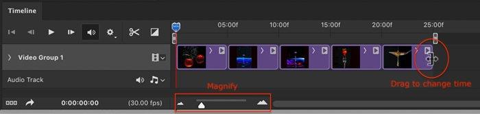 Photoshop screenshot change time on slides