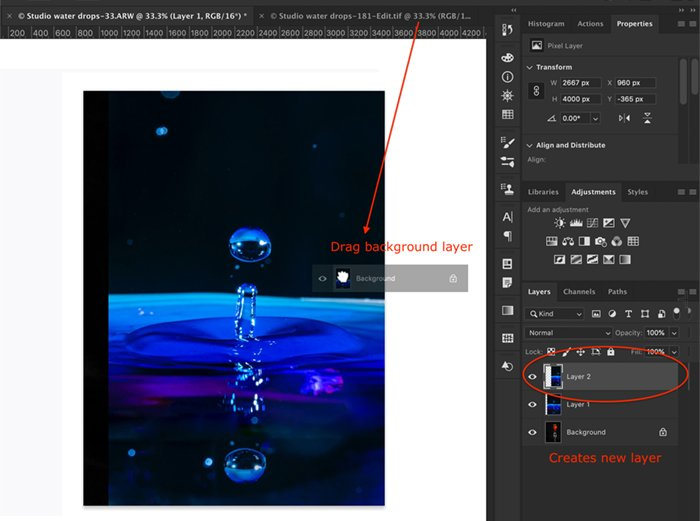Photoshop screenshot drag to open new layer