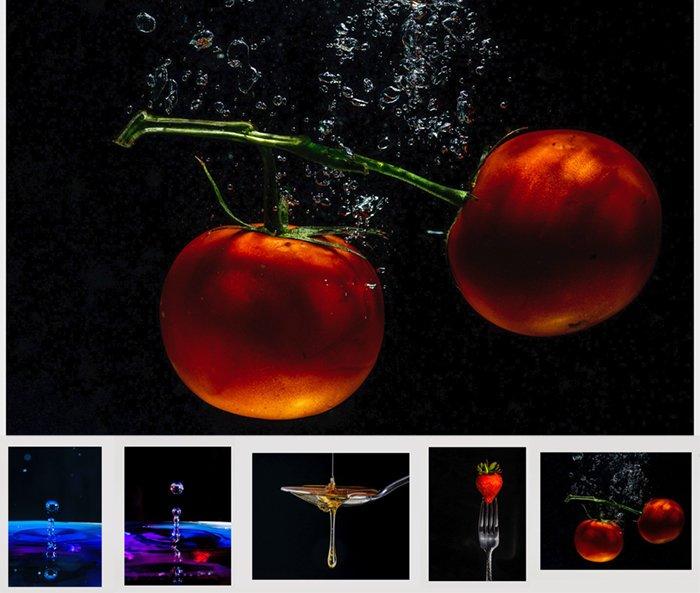 studio photography slideshow tomatoes in water