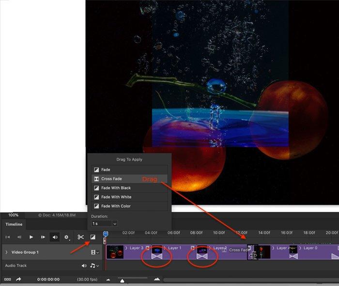 Photoshop screenshot add transitions