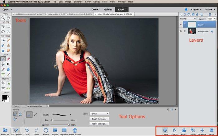 Screenshot Photoshop Elements Expert edit workspace