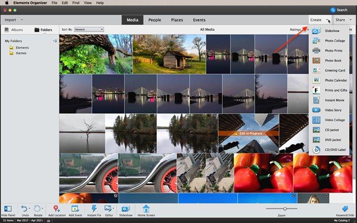 screenshot photoshop elements organizer create menu