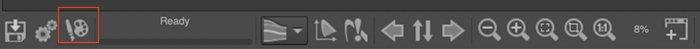 Screenshot of RawTherapee showing Open in External Editor icon