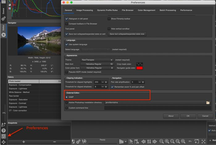 Screenshot of IOS RawTherapee's preference window showing GIMP as selected External Editor