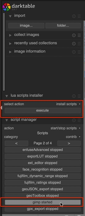 Screenshot of Darktable showing where to execute the GIMP script in the Lighttable workspace