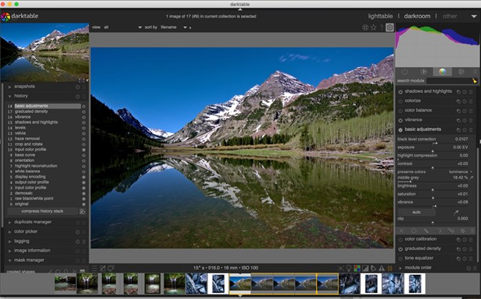 Screenshot of IOS version of Darktable workspace